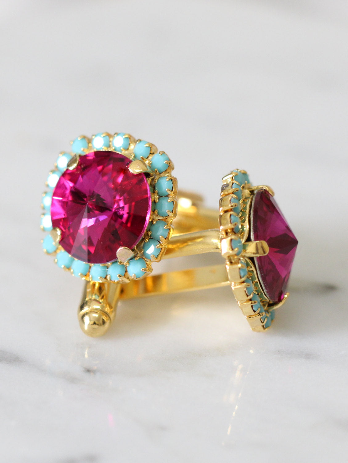 Kelly Fuchsia Turquoise Crystal Swarovski Cuff Links