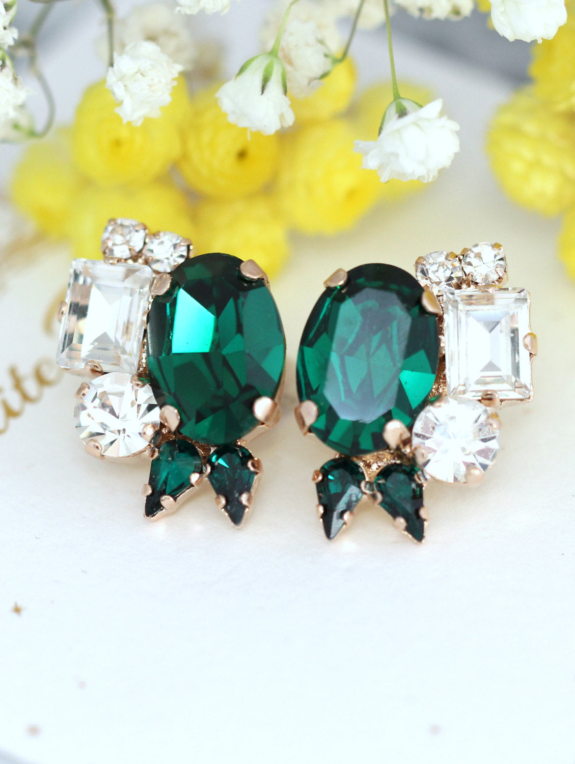 Mili Emerald Crystal Swarovski Cluster Earrings