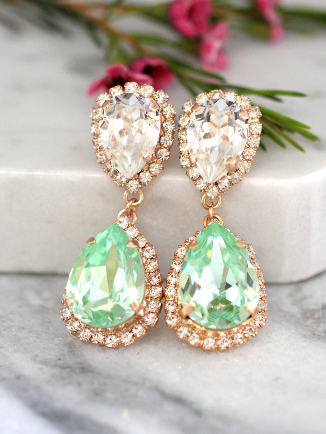 Emma Mint Clear Crystal Swarovski Chandelier Earrings