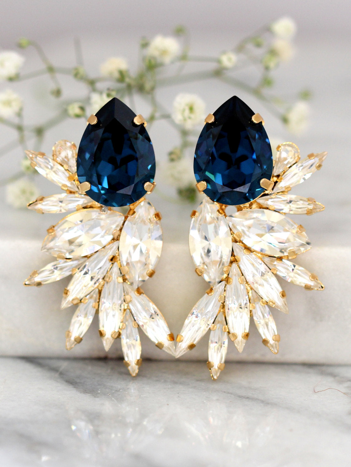 Kim Blue Navy Crystal Swarovski Cluster Earrings