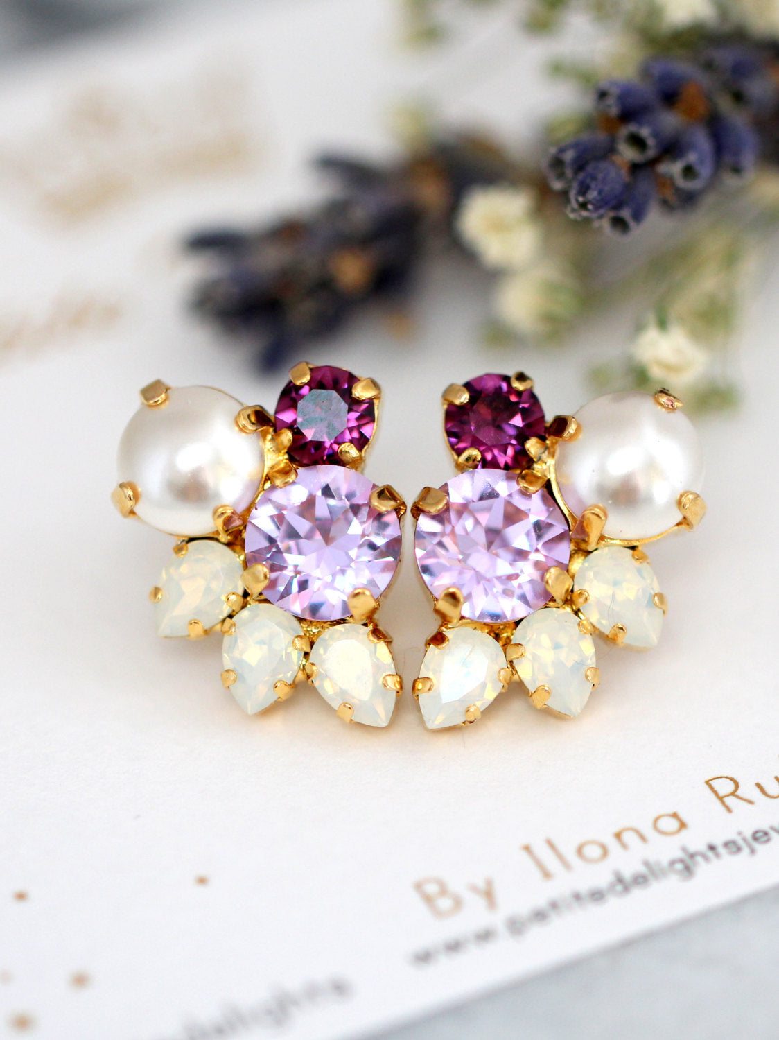 Abby Purple Lilac Crystal Swarovski Cluster Earrings