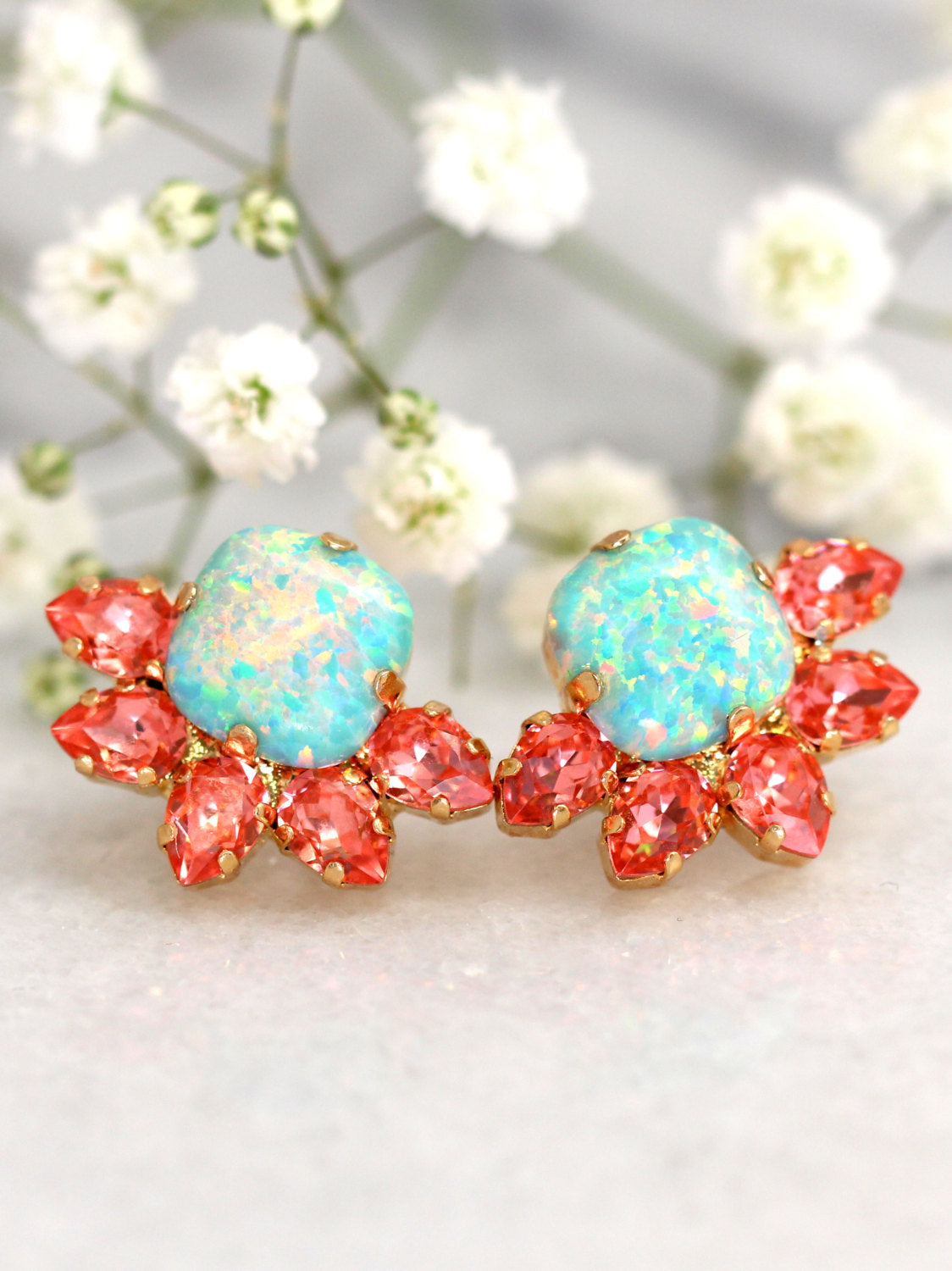 Sunny Mint Opal Coral Crystal Swarovski Cluster Earrings