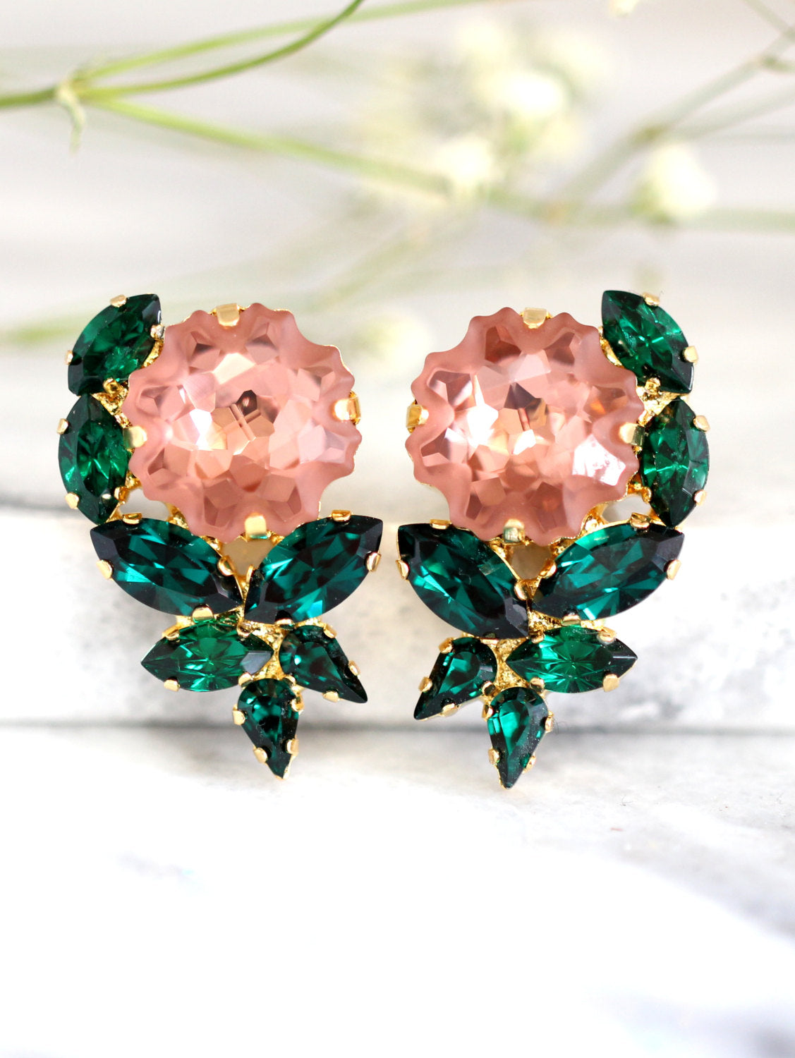 Rose Emerald Pink Crystal Swarovski Cluster Earrings