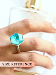 Romi Blue Lagoon Crystal Swarovski Cocktail Ring