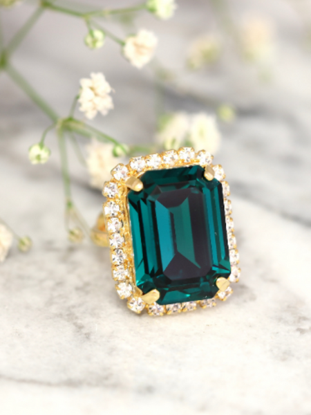 Ada Fancy Emerald Crystal Swarovski Small Cocktail Ring