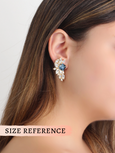 Rachel Blue Navy Crystal Swarovski Cluster Earrings
