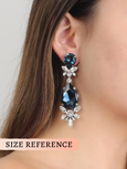 Casey Blue Navy Clear Crystal Swarovski Chandelier Earrings