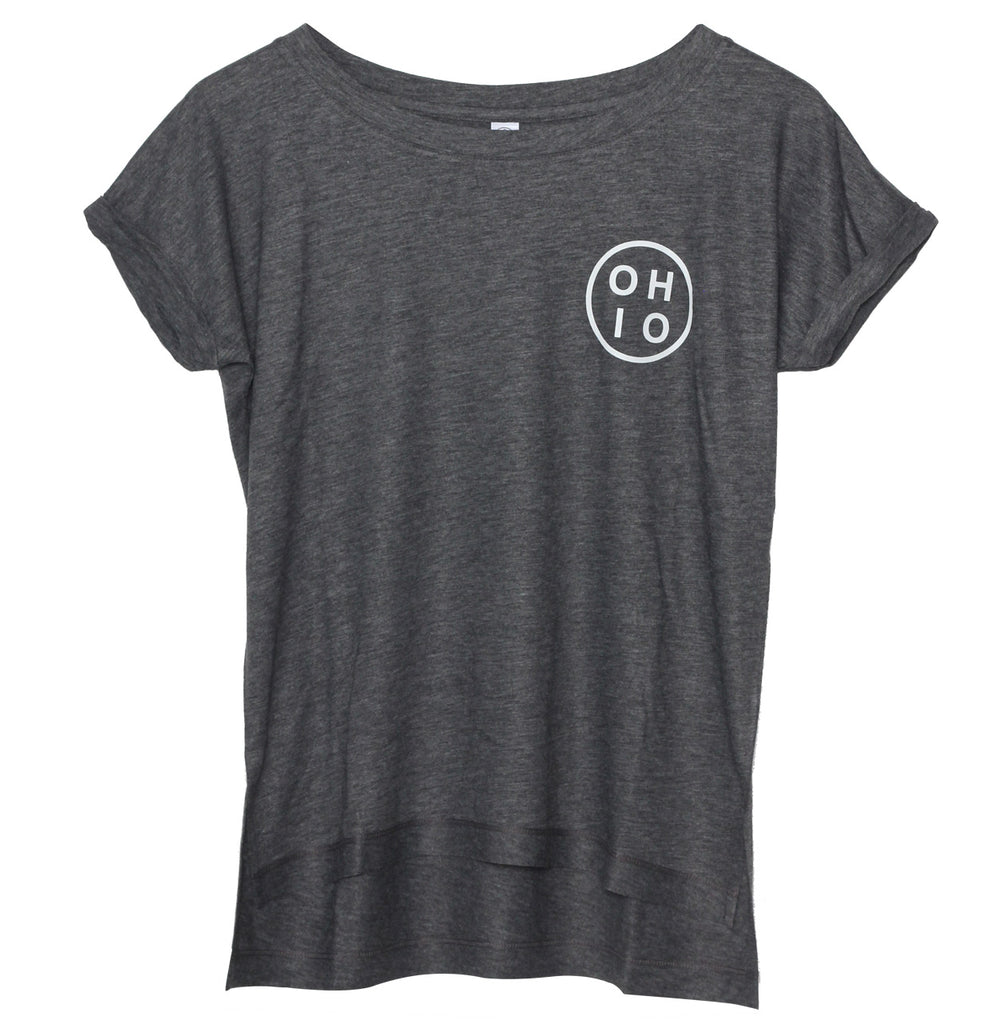 Small Circle Ohio (White Ink) Women's Drift Eco-Gauze