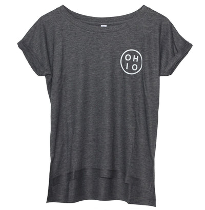 Small Circle Ohio (White Ink) Women's Drift Eco-Gauze - Clothe Ohio - Soft Ohio Shirts