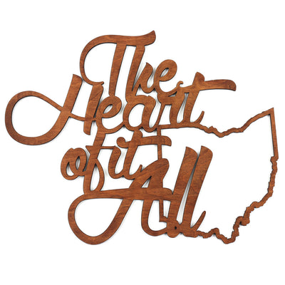 Ohio The Heart Of It All Wood Cut 2X2 Wood Print - Clothe Ohio - Soft Ohio Shirts