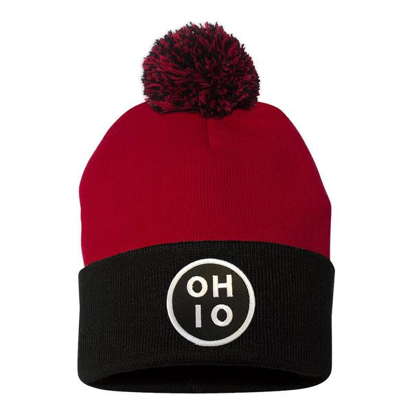 Circle Ohio (White) Pom Beanie Hat - Clothe Ohio - Soft Ohio Shirts