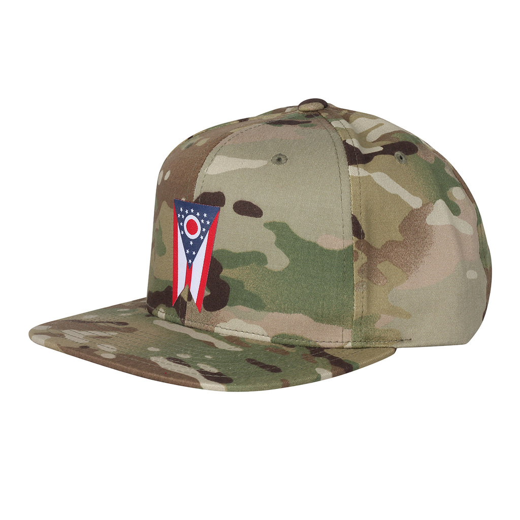 Ohio Flag Desert Camo Snap Back Hat