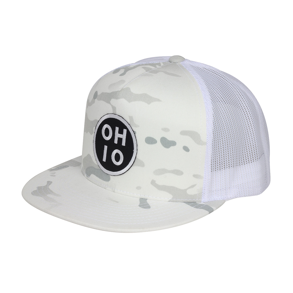Circle Ohio Alpine White Camo Snap Trucker Hat - Clothe Ohio - Soft Ohio Shirts
