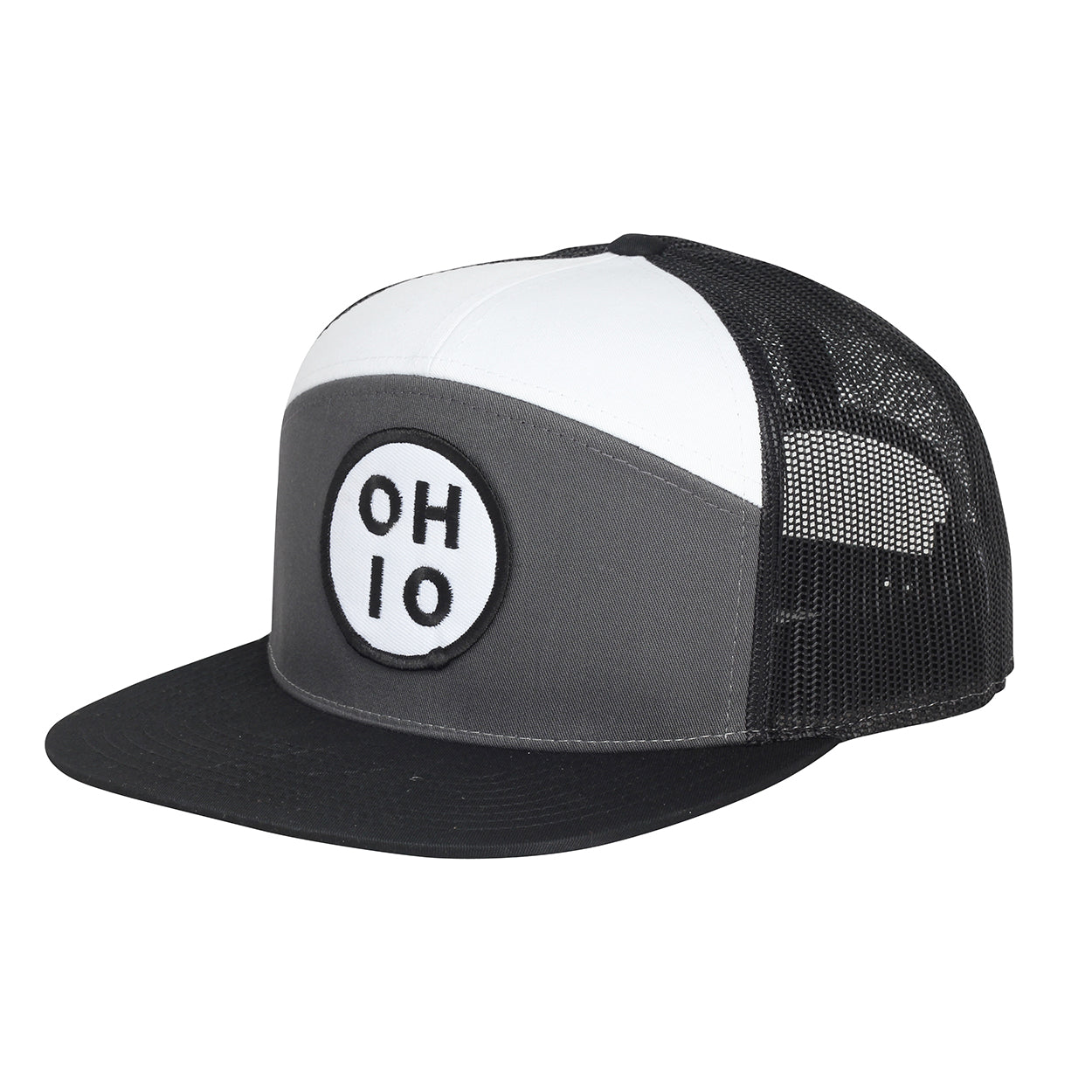 Circle Ohio (White) Hi-Pro Snap back Trucker Hat - Clothe Ohio - Soft Ohio Shirts