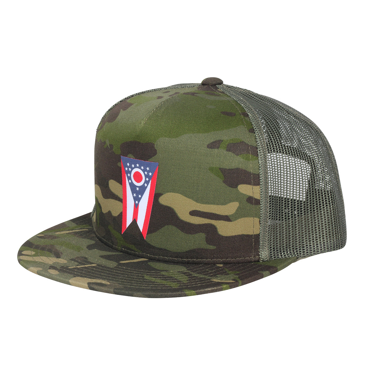 Ohio Flag Tropic Camo Snap Trucker Hat - Clothe Ohio - Soft Ohio Shirts