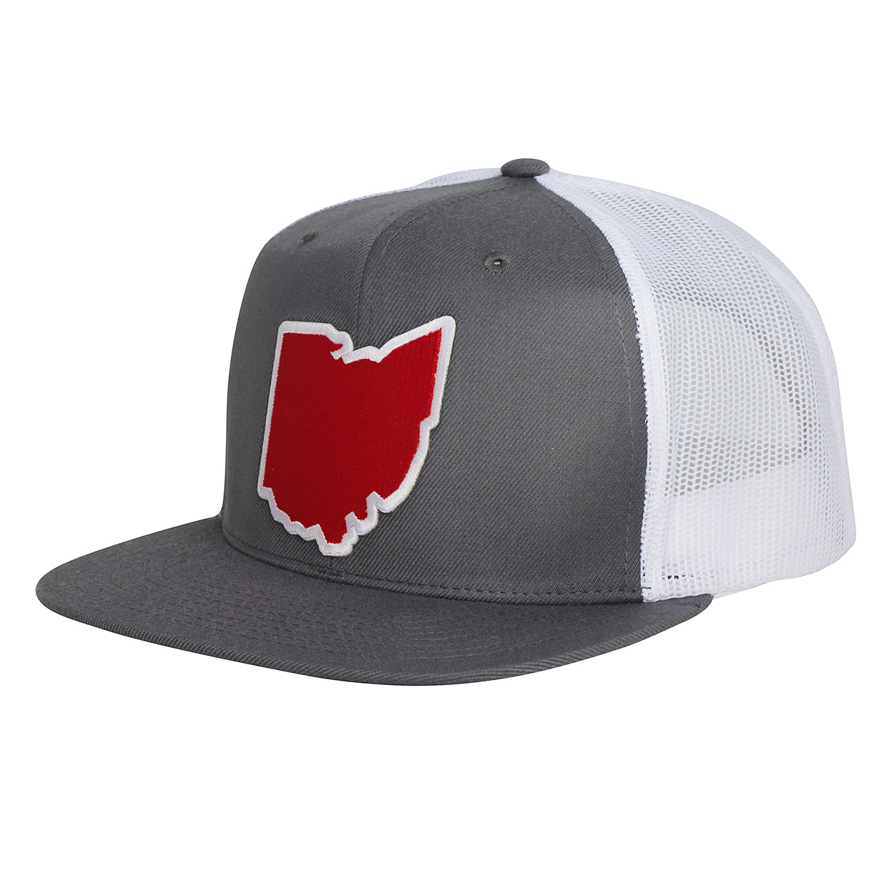 Ohio Red Patch Wool Snap back Trucker Hat