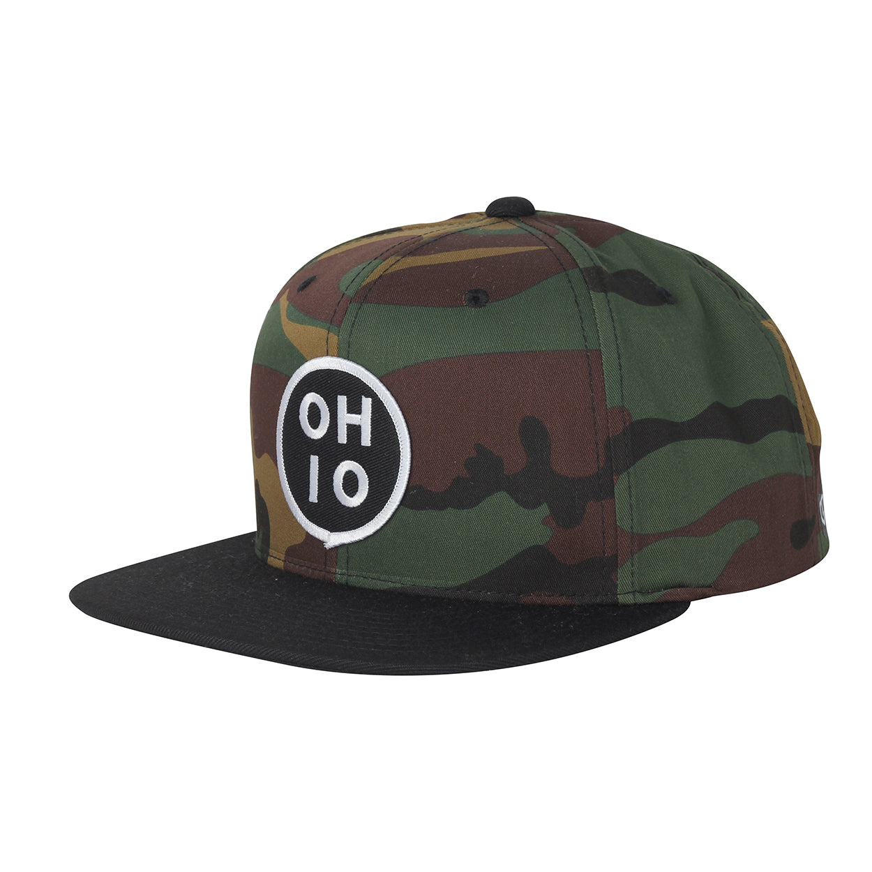 Circle Ohio Camo-Black Patch Snap Back Hat - Clothe Ohio - Soft Ohio Shirts