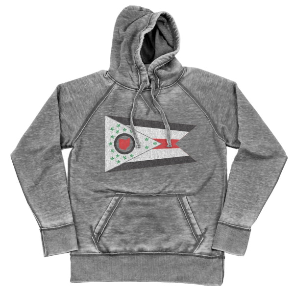 State Pride Flag Shredded Hoodie - Clothe Ohio - Soft Ohio Shirts