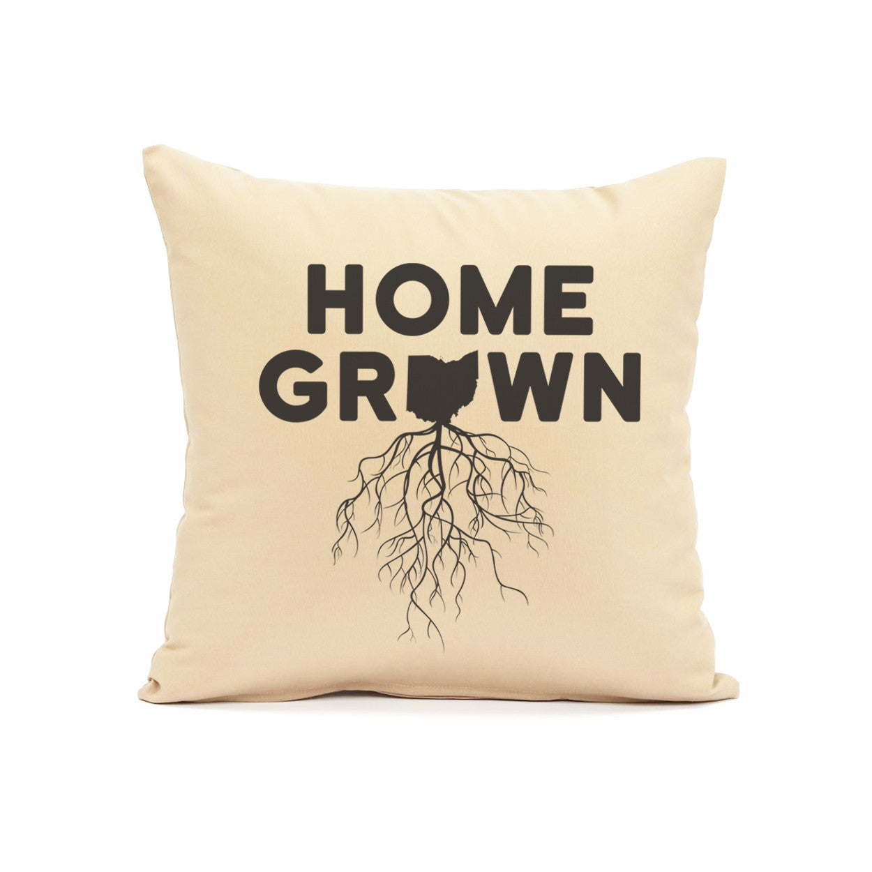 Home Grown Roots Ohio (Black) Throw Pillow - Clothe Ohio - Soft Ohio Shirts