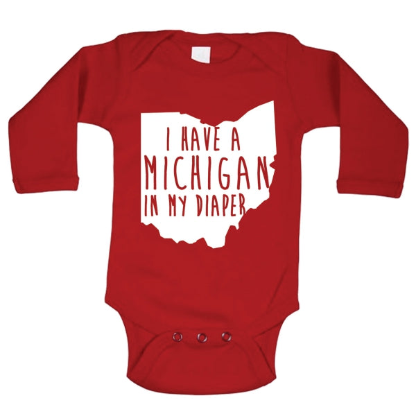 I Have A Michigan In My Diaper Baby Long Sleeve Baby One Piece - Clothe Ohio - Soft Ohio Shirts