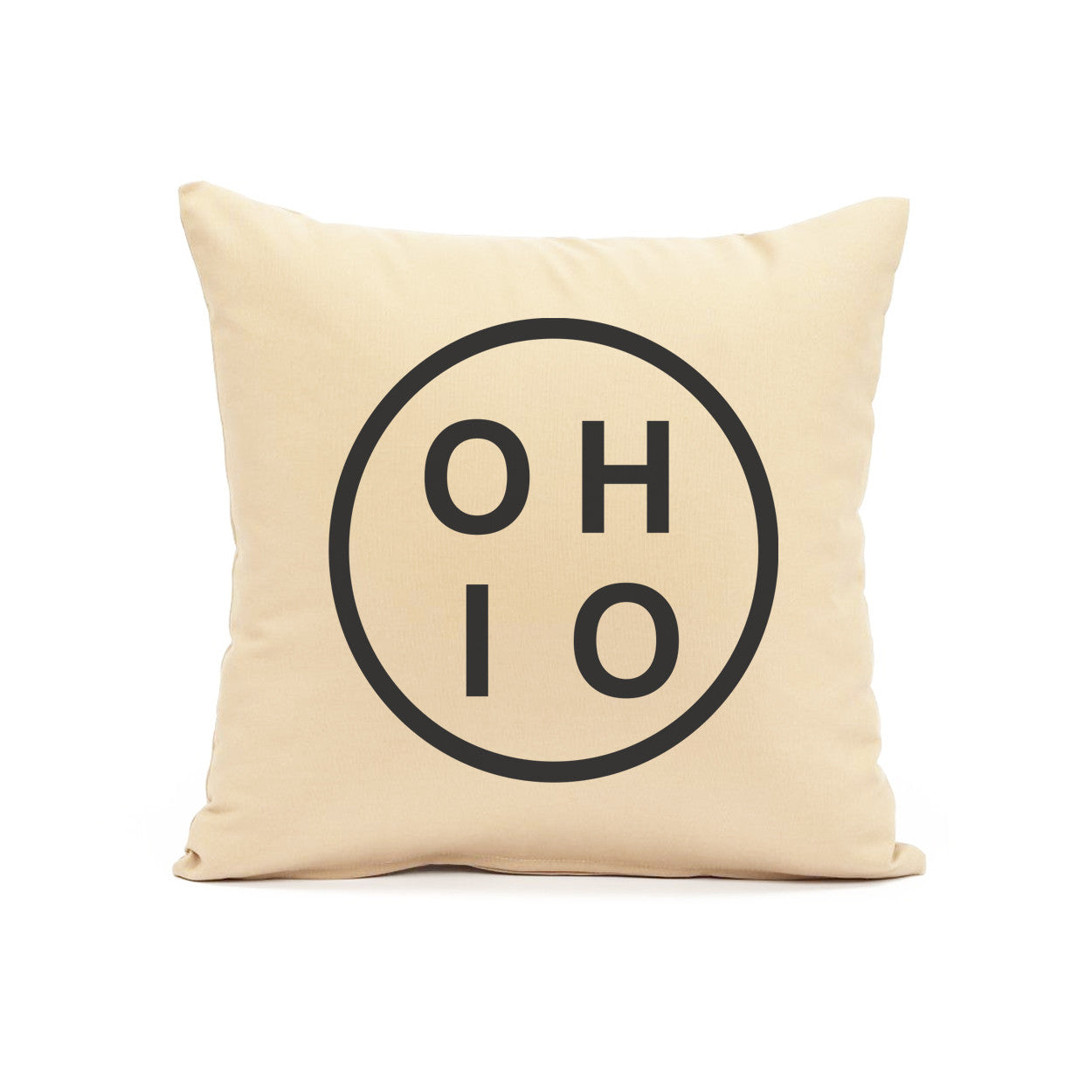 Ohio Circle Black Throw Pillow - Clothe Ohio - Soft Ohio Shirts