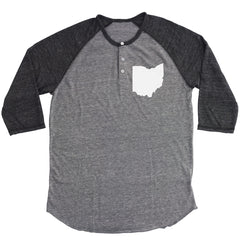 Ohio Pocket Print (White) Button Henley