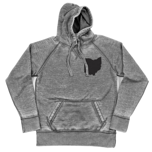 Ohio Black Shredded Hoodie - Clothe Ohio - Soft Ohio Shirts