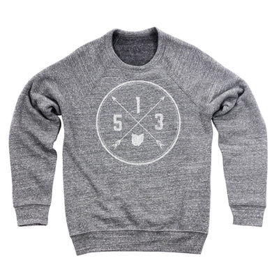 513 Area Code Cross Ultra Soft Sweatshirt - Clothe Ohio - Soft Ohio Shirts