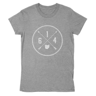 614 Area Code Cross Women's T-Shirt - Clothe Ohio - Soft Ohio Shirts