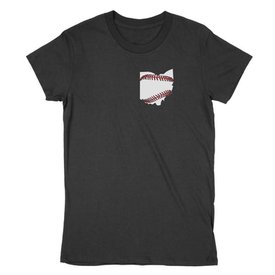 Ohio Baseball Stitching Women's T-Shirt - Clothe Ohio - Soft Ohio Shirts