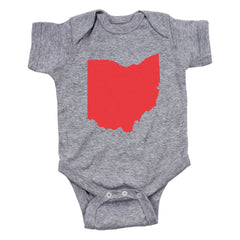 Ohio Pocket Print (Red) Baby One Piece