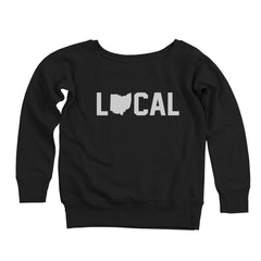 Local Ohio (White Ink) Women's Off-Shoulder Sweatshirt