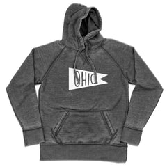 Retro Ohio White Flag Shredded Hoodie