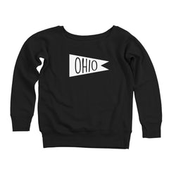 Retro Ohio White Flag Women's Off-Shoulder Sweatshirt