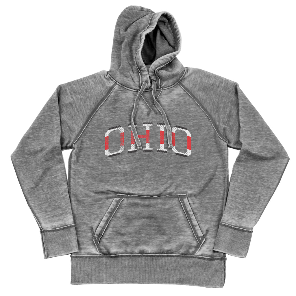 Ohio College Jersey Shredded Hoodie - Clothe Ohio - Soft Ohio Shirts