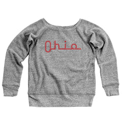 Ohio Slide Script Women's Off-Shoulder Sweatshirt