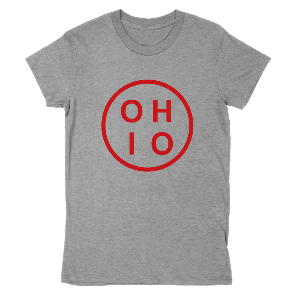Ohio Circle Red Women's T-Shirt - Clothe Ohio - Soft Ohio Shirts