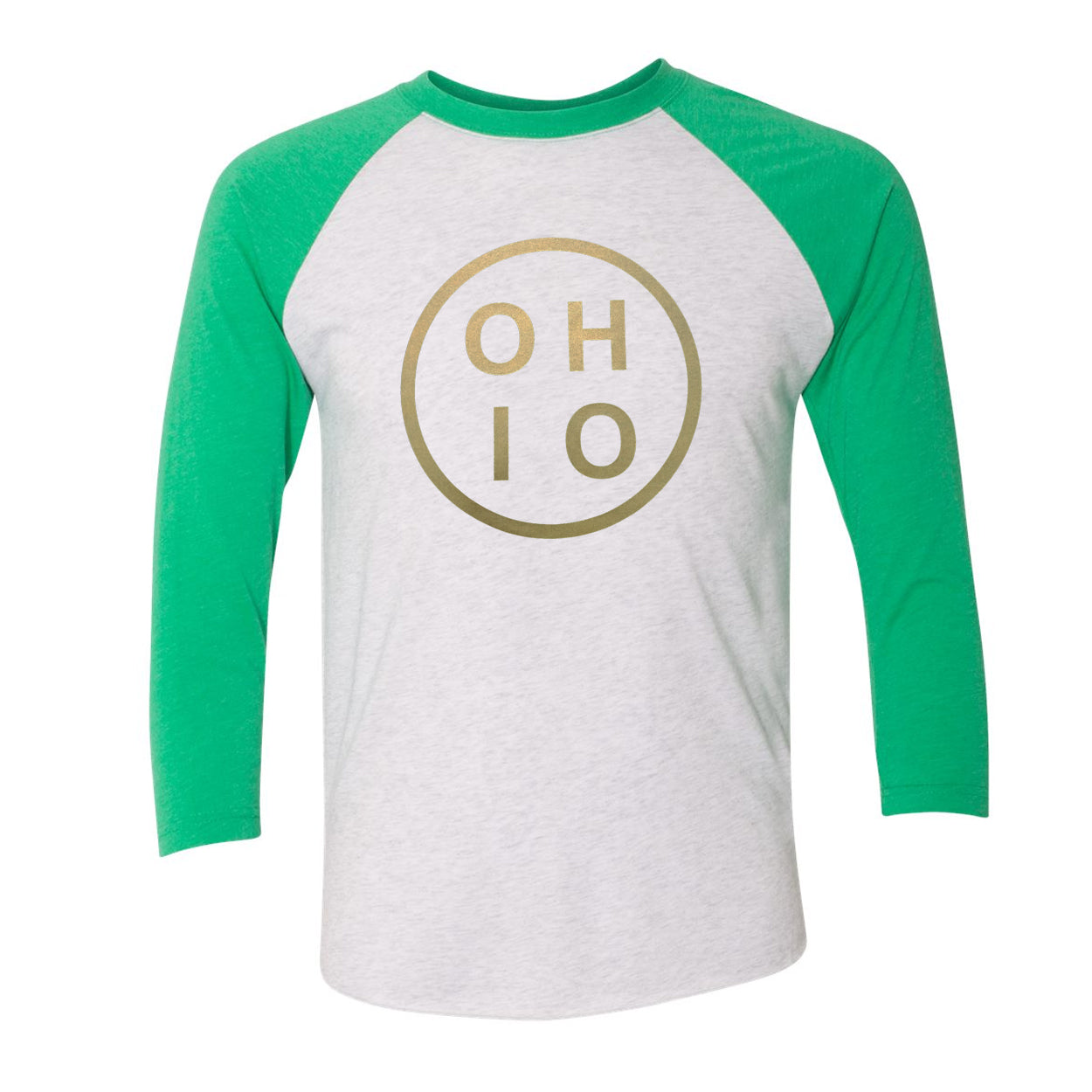 Ohio Circle Gold Raglan T-Shirt - Clothe Ohio - Soft Ohio Shirts