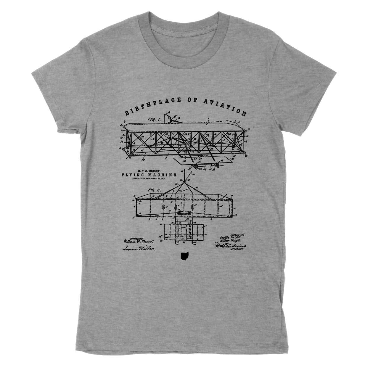 Wright Birthplace Of Aviation Women's T-Shirt - Clothe Ohio - Soft Ohio Shirts