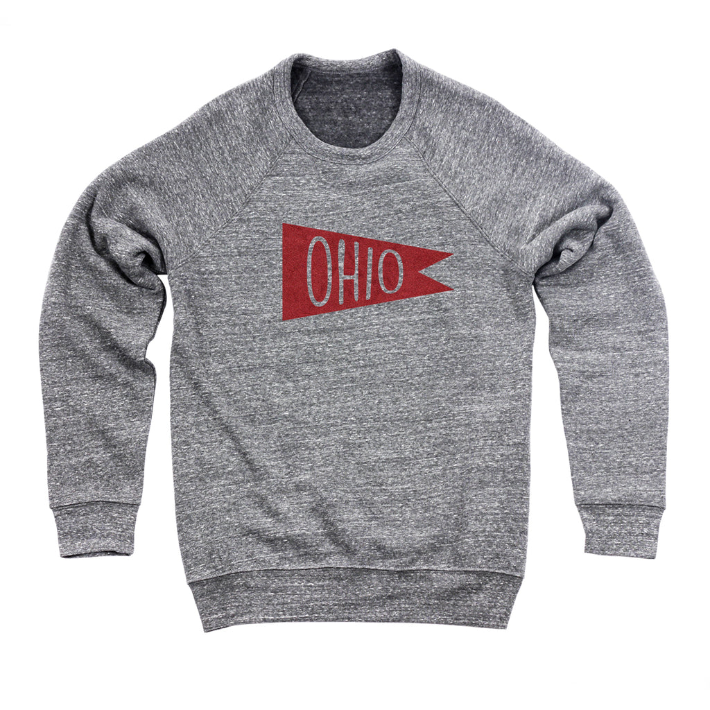 Retro Red Ohio Flag Flock Men's Ultra Soft Sweatshirt - Clothe Ohio - Soft Ohio Shirts
