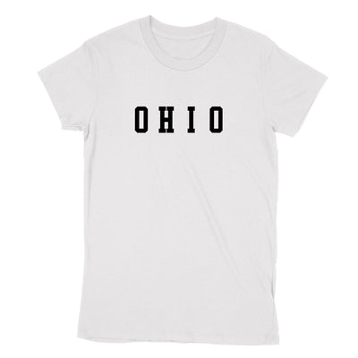 Ohio Varsity Black Women's T-Shirt - Clothe Ohio - Soft Ohio Shirts