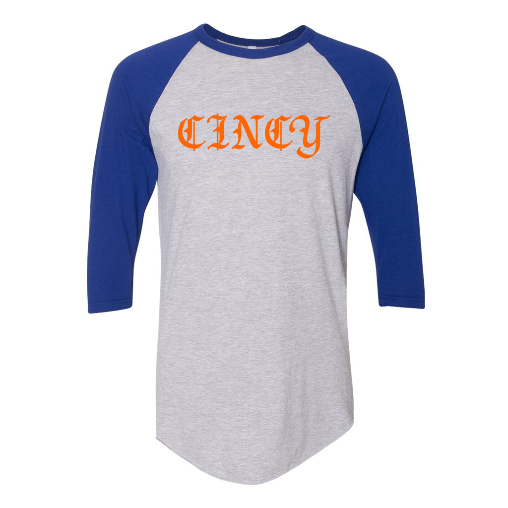 CINCY Gothic Orange Raglan T-Shirt - Clothe Ohio - Soft Ohio Shirts