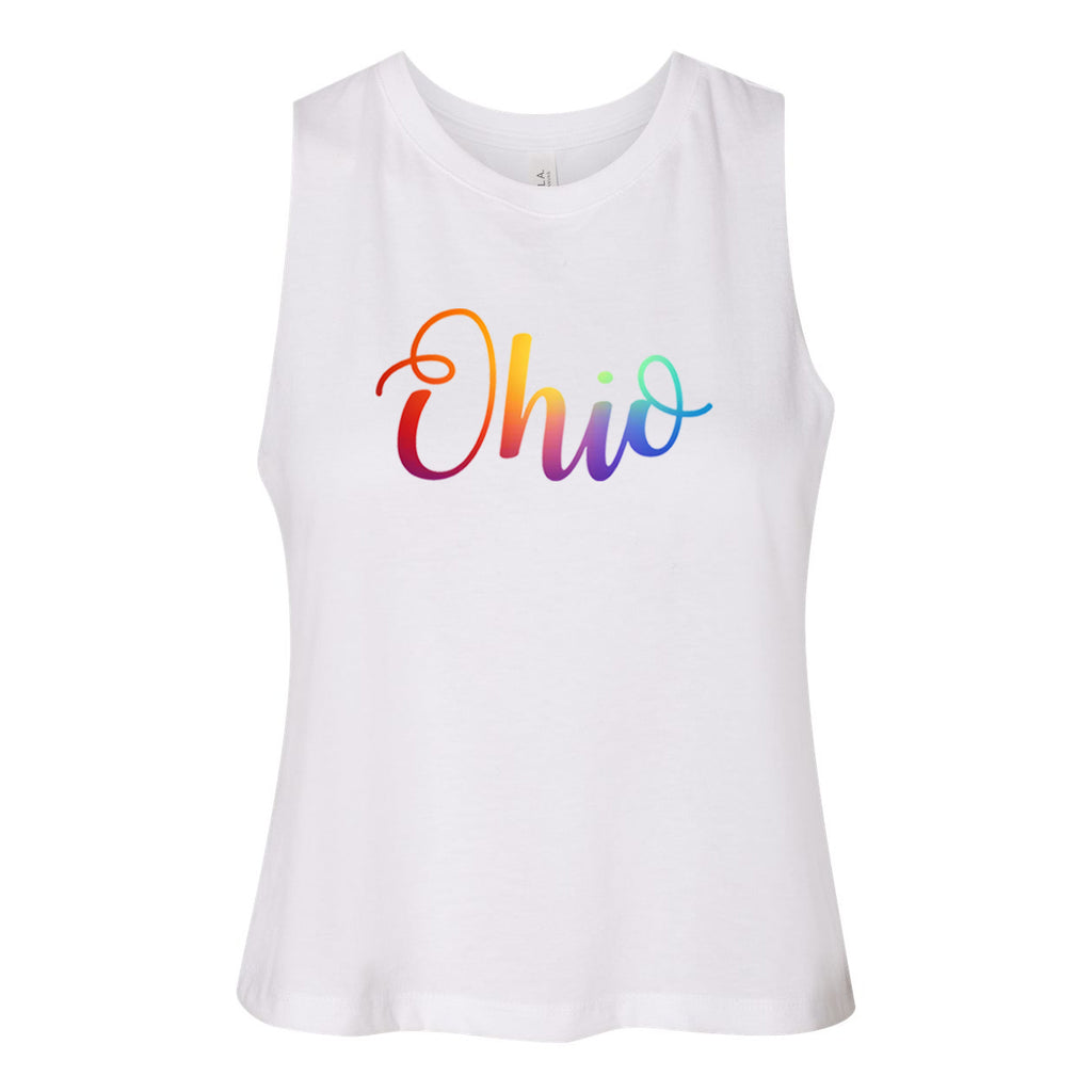 Pride Curly Ohio Women's Racerback Cropped Tank - Clothe Ohio - Soft Ohio Shirts