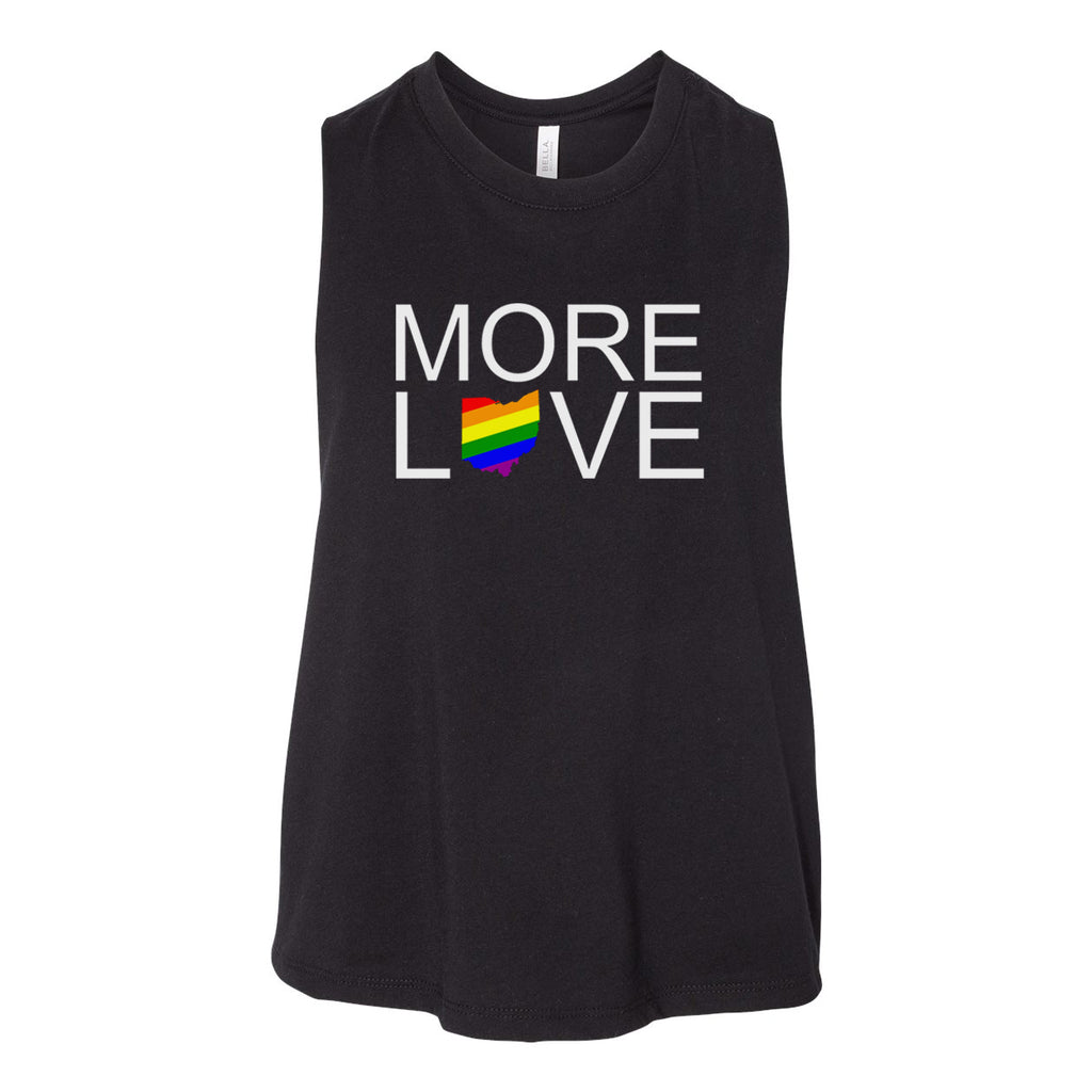 More Love Pride Ohio Women's Racerback Cropped Tank - Clothe Ohio - Soft Ohio Shirts
