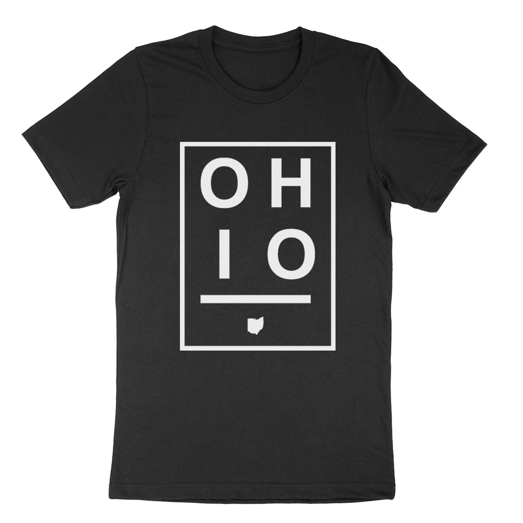 Ohio Boxed Black Youth T-Shirt - Clothe Ohio - Soft Ohio Shirts