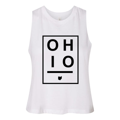 Ohio Boxed Women's Racerback Cropped Tank - Clothe Ohio - Soft Ohio Shirts