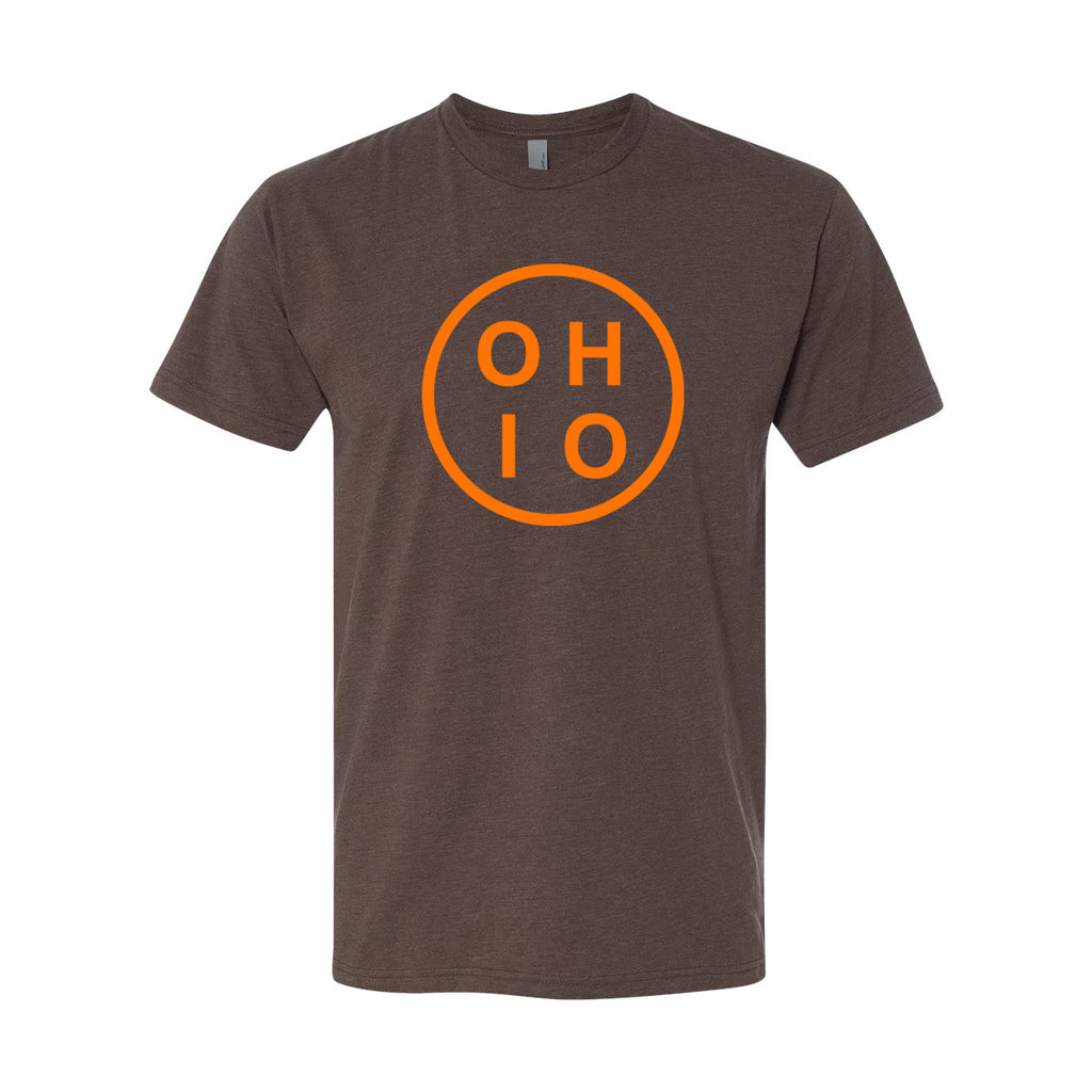 Ohio Circle Orange Men's T-Shirt - Clothe Ohio - Soft Ohio Shirts