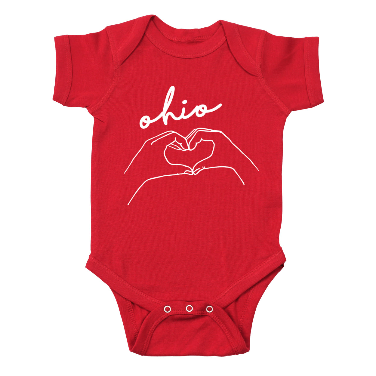Hands Heart Love Ohio Baby One Piece - Clothe Ohio - Soft Ohio Shirts