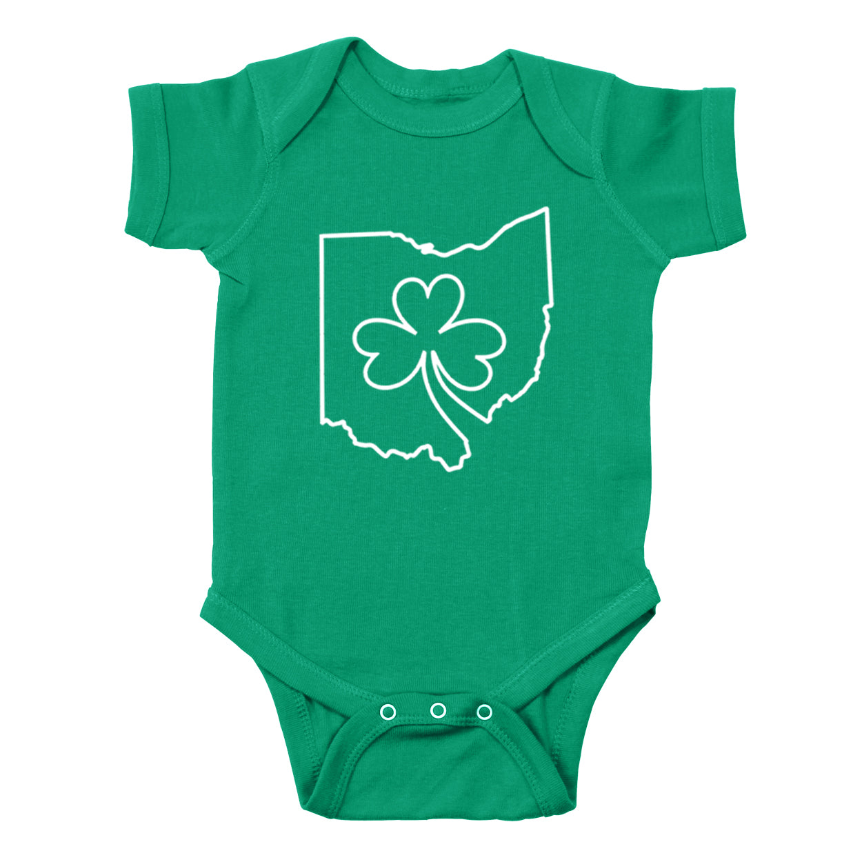 Ohio one line Shamrock Baby One Piece - Clothe Ohio - Soft Ohio Shirts