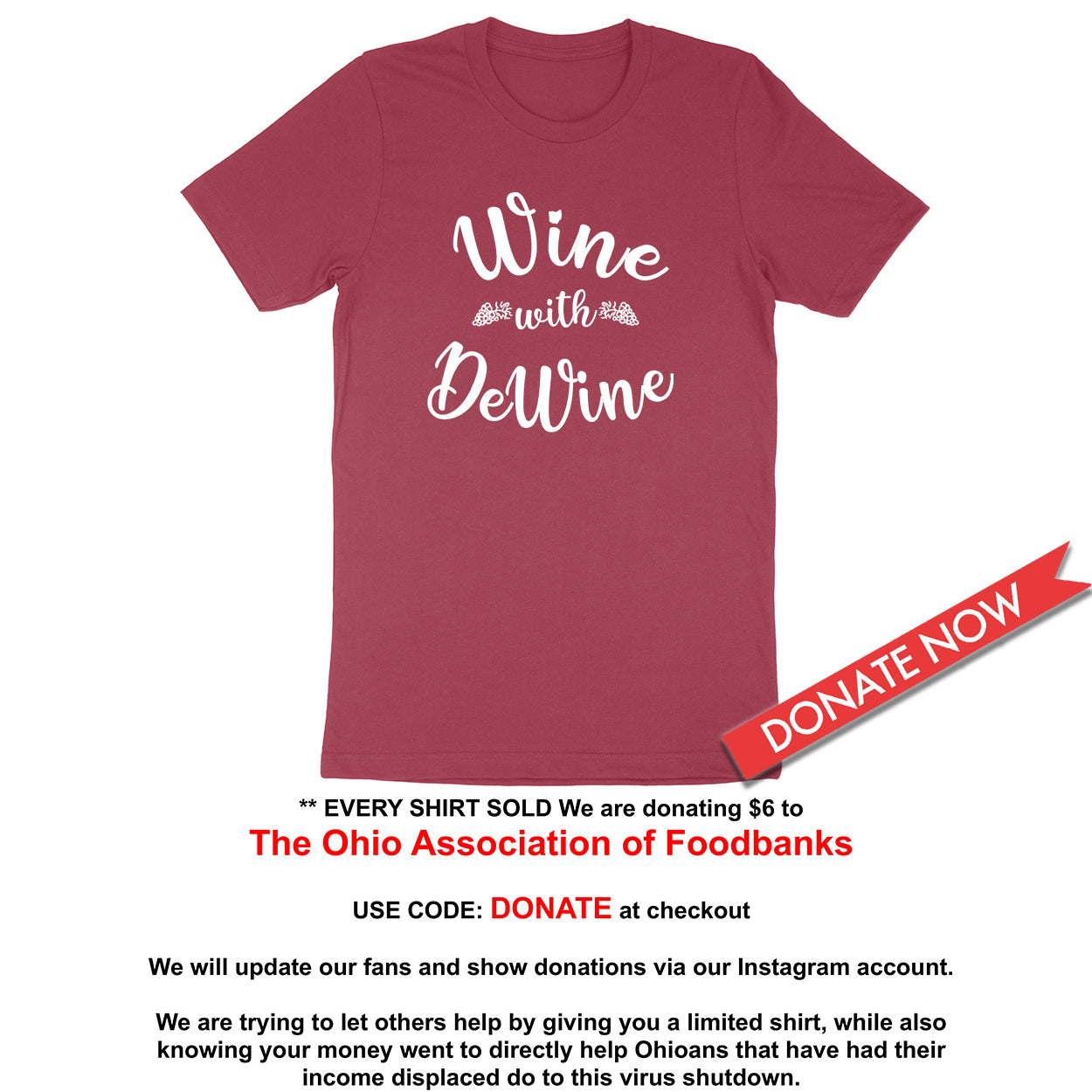 Wine With DeWine Donation Men's T-Shirt - Clothe Ohio - Soft Ohio Shirts